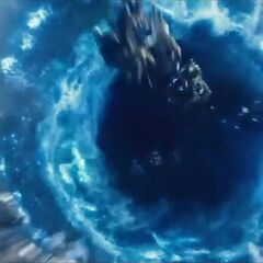 The Chitauri flying through a portal.