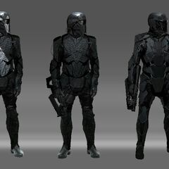 Concept art of Trask Industries soldiers in <i>Days of Future Past</i>.