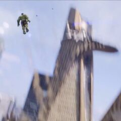 Hulk jumping off a building.