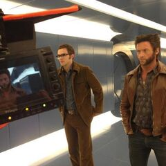 Nicholas Hoult and Hugh Jackman on set.
