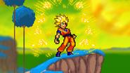 Goku transforming into super saiyan
