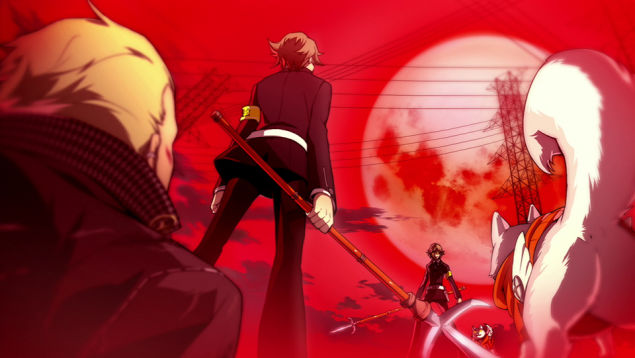 File:P4AU (P3 Mode, Ken along with Koromaru fights their Shadow counterparts).jpg