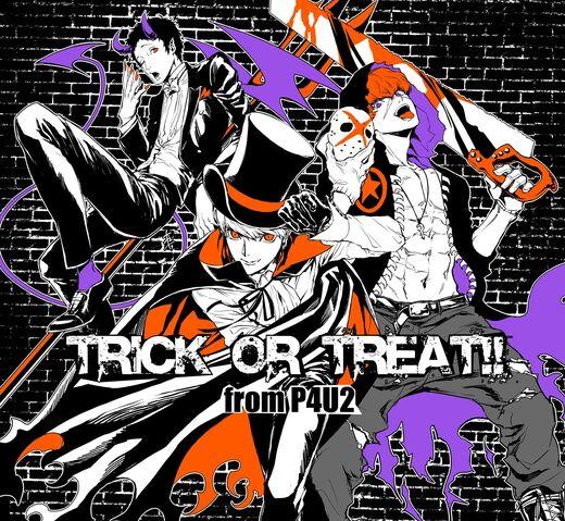 File:P4U2 Halloween illustration of Yu, Sho, and Adachi by Rokuro Saito.jpg