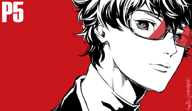 File:P5 Illustration of the Protagonist by Rokuro Saito (P4U2 manga artist).png