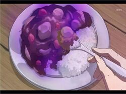 Mystery Food X with rice on the side