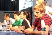 Bradley James Katie McGrath and Colin Morgan