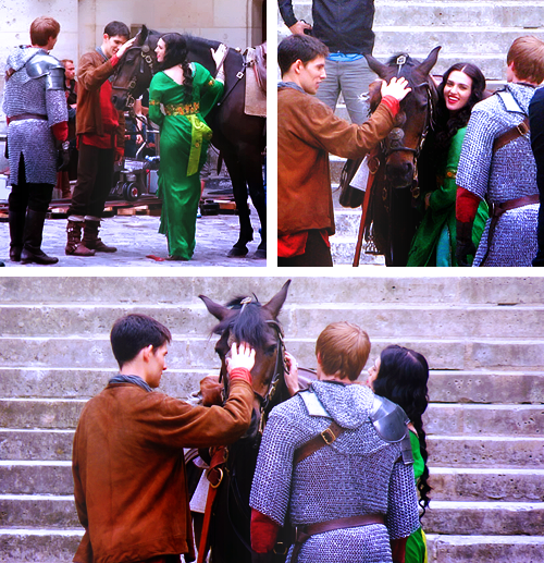 Image - Katie McGrath Colin Morgan and Bradley James ...