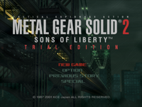 MGS2 Trial Edition - Title Screen