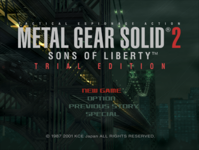 File:MGS2 Trial Edition - Title Screen.png