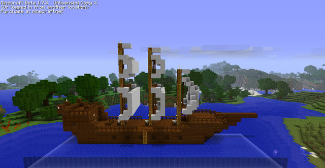 File:White flagged minecraft boat by 3dspammer-d486wvj.png