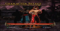 MK SM the character select screen without unlockables