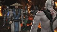 Jade, Smoke and Sub-Zero preparing to attack Raiden