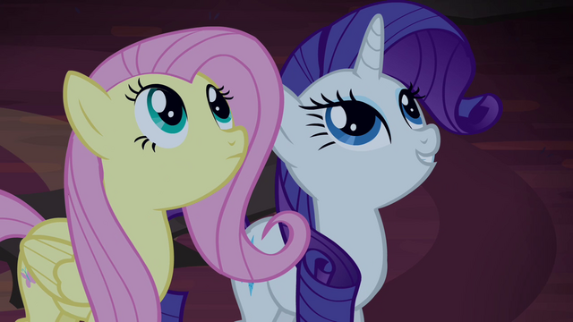 File:Fluttershy and Rarity find tapestries S4E03.png