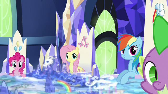 File:Pinkie, Fluttershy, Rainbow, and Spike at their thrones S5E26.png
