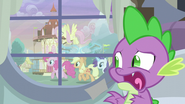 File:Spike sees Twilight's friends outside the window S5E3.png