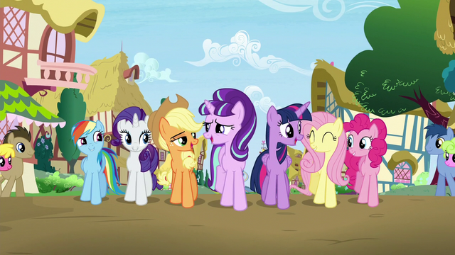 "File:Mane 6 and Starlight sings ""When you find it, it's the key"" S5E26.png"