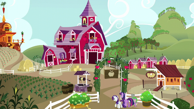 File:Twilight, Rarity, and Spike enter Sweet Apple Acres S6E10.png