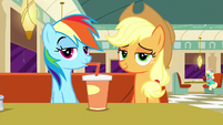 Applejack smiling; Rainbow drinking S6E9