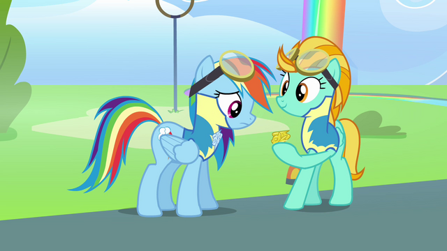 File:Lightning Dust showing Rainbow her badge S3E7.png