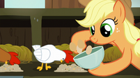 Applejack collects eggs while white chicken eats S6E10