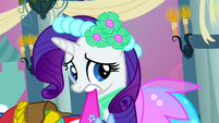Rarity embarrassed while holding dress S2E26