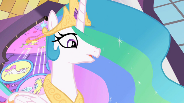 File:Celestia 'Good luck, my little ponies' S2E01.png