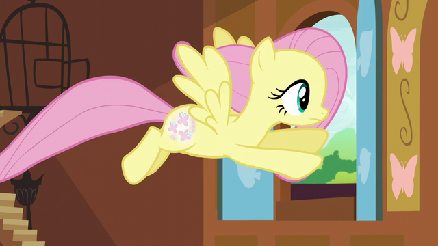 File:Fluttershy flying out the cottage window S5E23.png