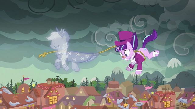 File:Snowfall hanging on to the Spirit of Hearth's Warming Past's lasso S06E08.png