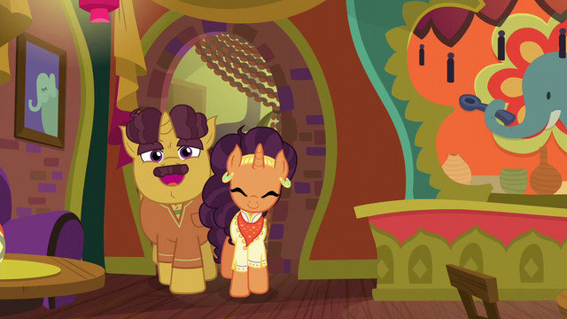 File:Coriander and Saffron welcoming ponies to The Tasty Treat S6E12.png