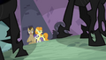 Dr. Hooves, Golden Harvest and Tornado Bolt in alley S2E26.png