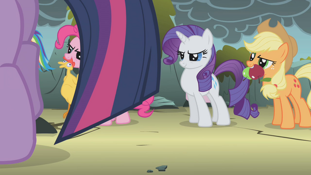 File:Rarity and Applejack ready to go S1E07.png