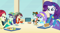 Rarity sitting down at fashion table EG