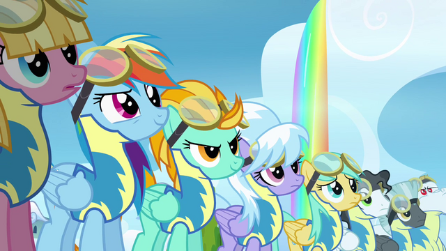 File:Wonderbolt Trainees looking at the Dizzitron S3E7.png