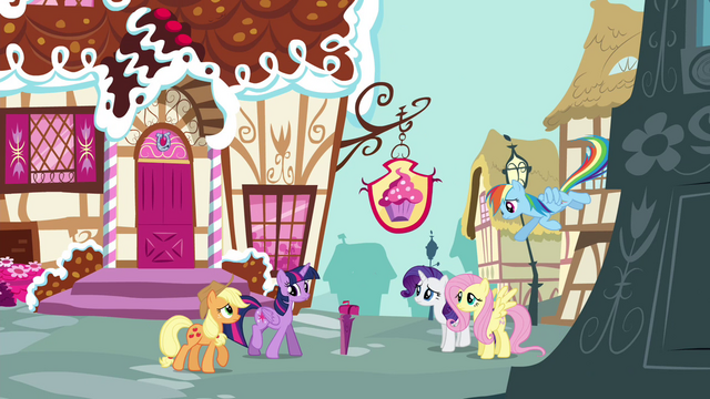 File:Pinkie Pie's friends gathering outside Sugarcube Corner S4E18.png
