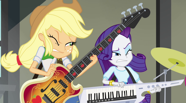 File:Applejack and Rarity squinting EG2.png