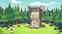 Celestia and campers at the rock climbing wall EG4