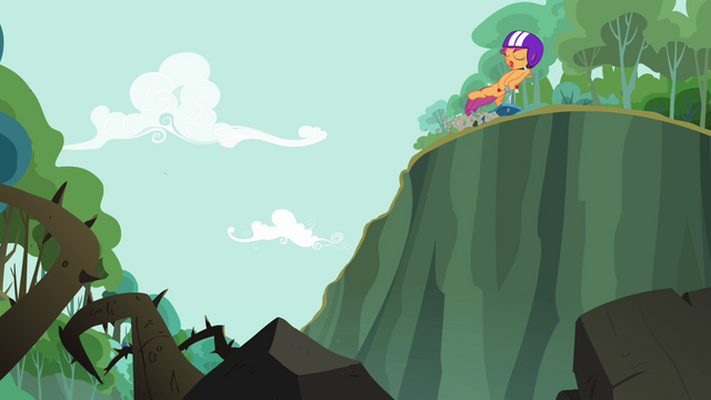 File:Scootaloo rides along the cliff S3E06.png
