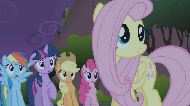 File:Fluttershy looking kindly at Manticore S01E02.png