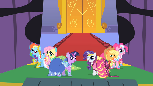 File:Main ponies at the gala S01E26.png