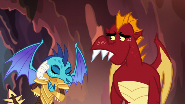 File:Ember bowing to Dragon Lord Spike S6E5.png