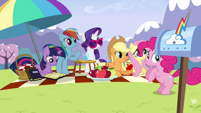 File:Pinkie Pie bouncing near the other ponies S3E7.png