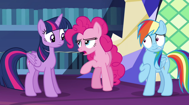 "File:Pinkie Pie butts in ""first of all"" EG2.png"