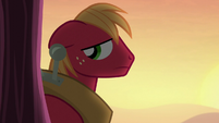 Big Mac looks back toward Apple Bloom S5E17