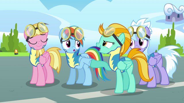 File:Lightning and Rainbow doing a hoofbump S3E07.png