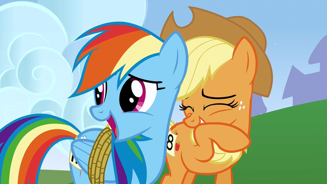 File:Rainbow Applejack chuckling2 S01E13.png