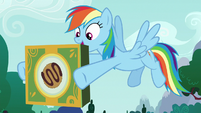 Rainbow Dash holding box of joke cookies S6E15