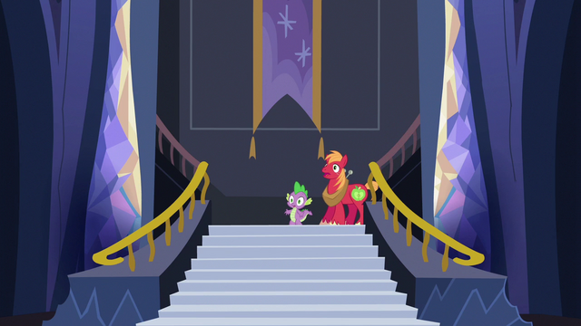 File:Spike and Big Mac enter the castle lobby S6E17.png