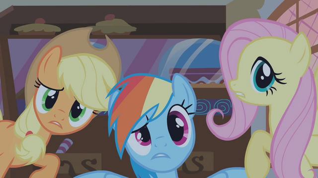 File:Applejack Rainbow Fluttershy S01E09.png