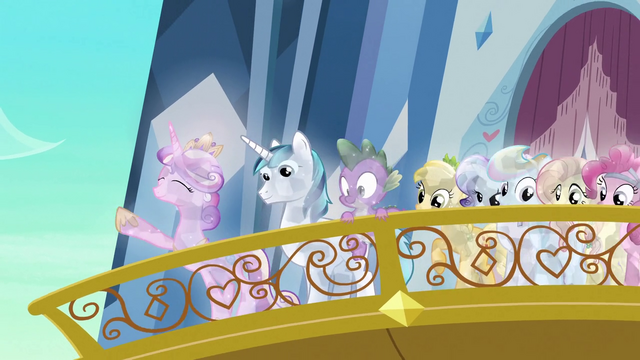 File:Cadance raising hoof on balcony S3E2.png