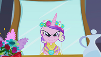 Chrysalis as Cadance looking at mirror menacingly S2E26